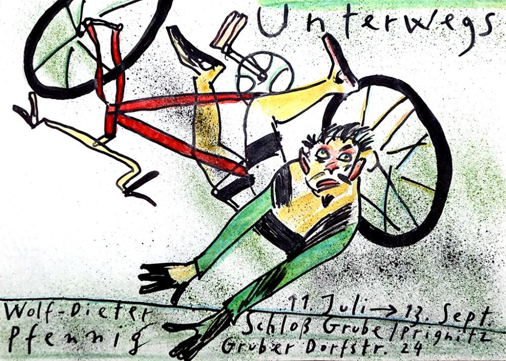 """Plakat Wolf-Dieter Pfennig: Ausstellung """"Unterwegs"""""""