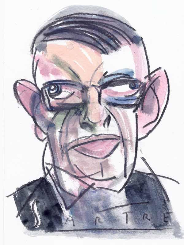 Sartre, Jean-Paul. Portrait von Wolf-Dieter Pfennig.