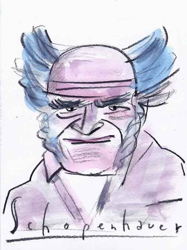 Schopenhauer, Arthur. Portrait von Wolf-Dieter Pfennig.