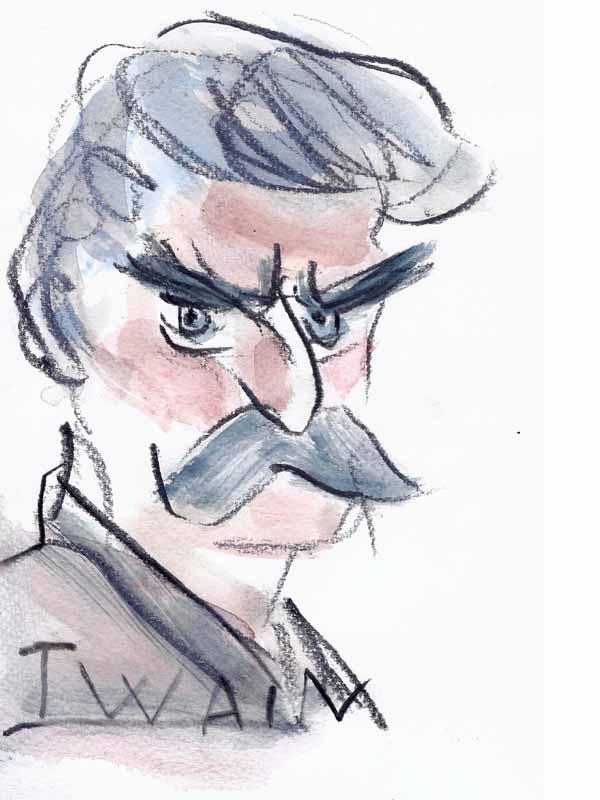 Twain, Mark. Portrait von Wolf-Dieter Pfennig.